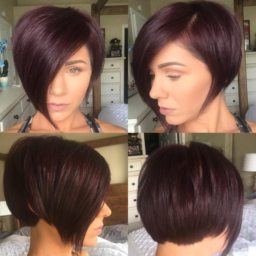 Burgundy Asymmetrical Pixie Bob With Side Swept Bangs And