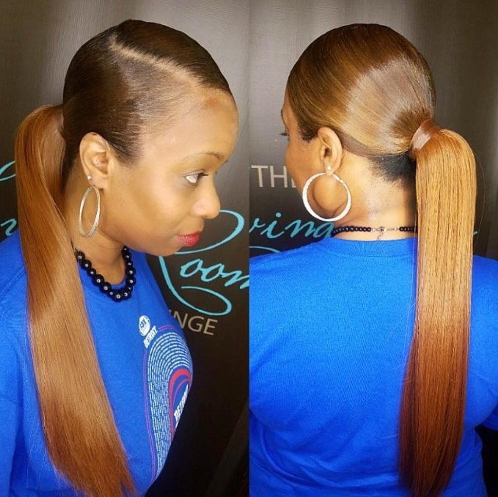 Long Sleek Low Ponytail with Bronze Color Updo Hairstyle