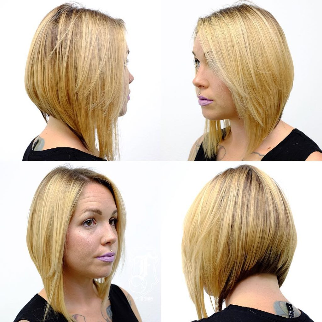 Textured Blonde A-Line Lob with Dark Under Color Medium Length Hairstyle