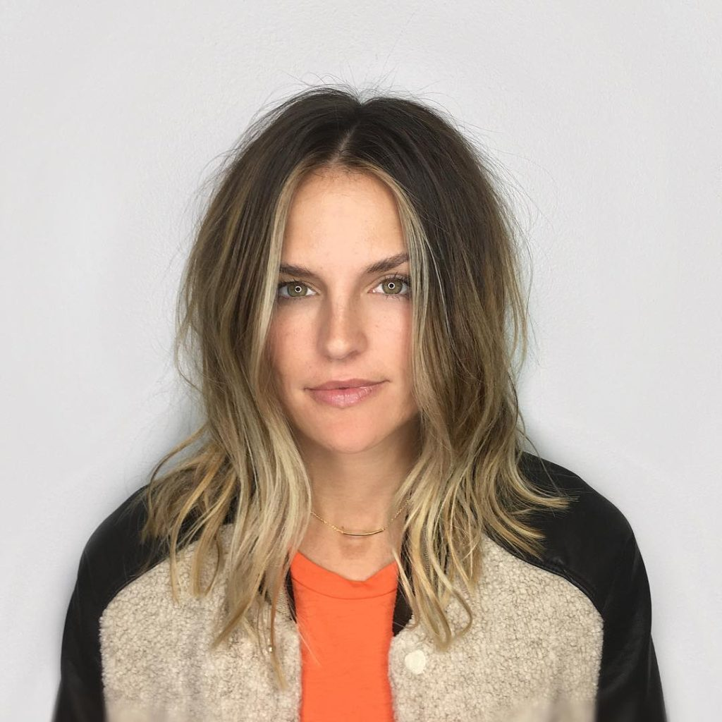 A-Line Layered Lob with Soft Undone Wavy Texture and Blonde Balayage Color Medium Length Hairstyle
