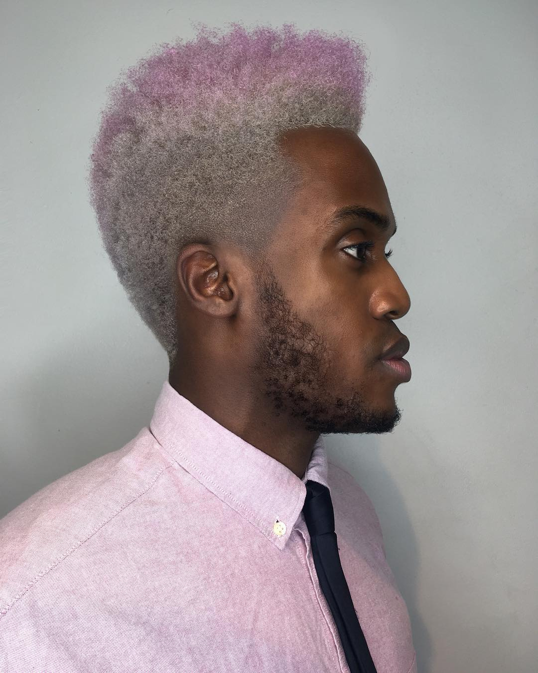 Afro High Top Fade with Silver to Pink Ombre Hair Color