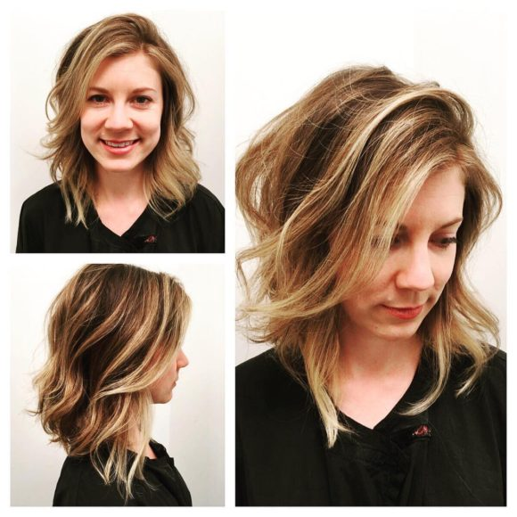 Angled Dark Blonde Lob with Undone Soft Waves and Highlights Medium Length Hairstyle