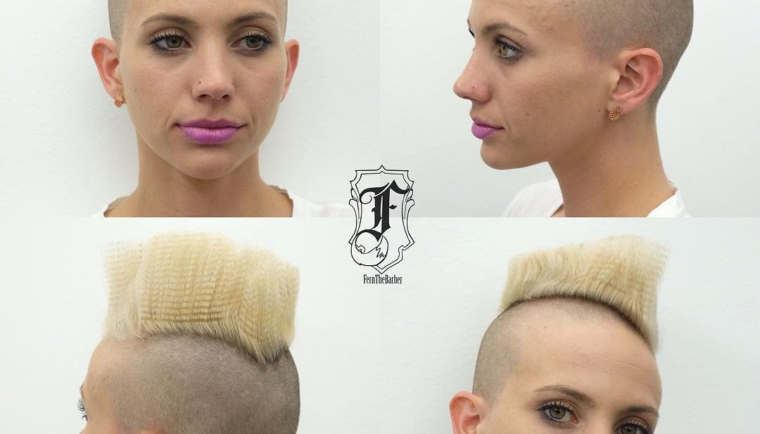 Angled Flattop Mohawk with Blonde Crimped Lengths Short Hairstyle