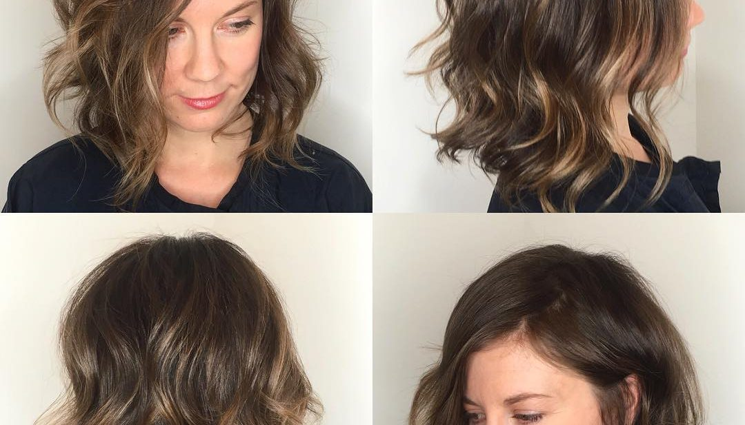 Angled Soft Layer Lob with Undone Wavy Texture and Subtle Brunette Balayage Medium Length Hairstyle