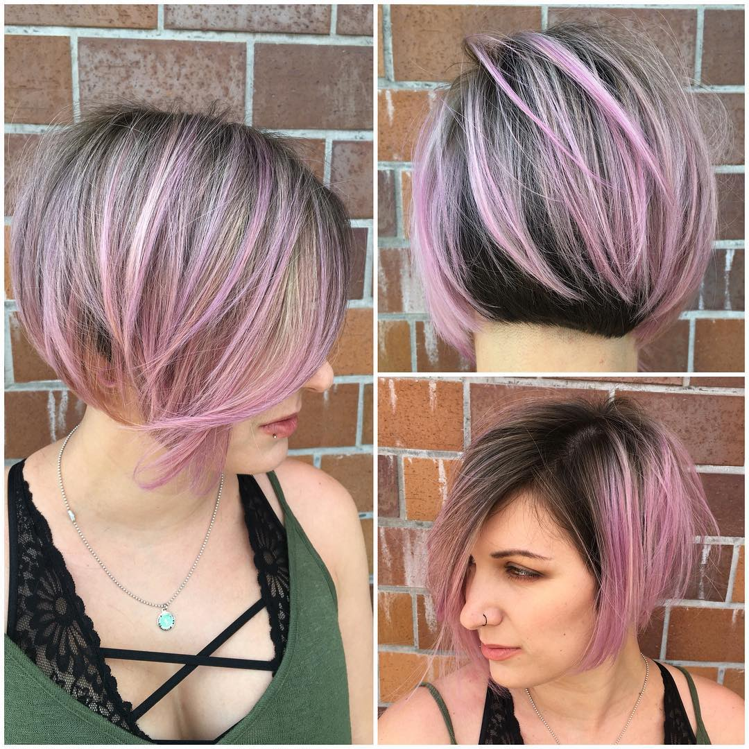 Angled Undercut Bob with Brunette and Pink Two Tone Color Paint Short Hairstyle