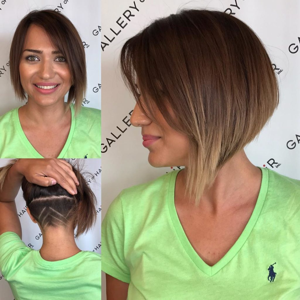 Asymmetric Inverted Bob with Side Swept Bangs and Undercut Shave Detail Short Hairstyle