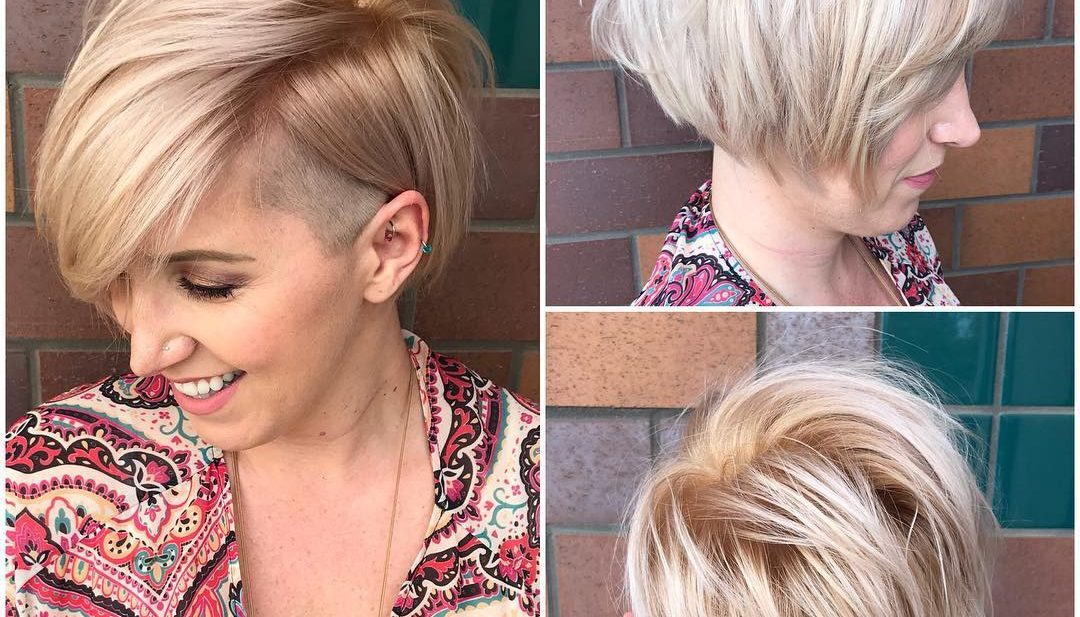Asymmetric Side Swept Bob with Undercut and Soft Blonde Color Short Hairstyle