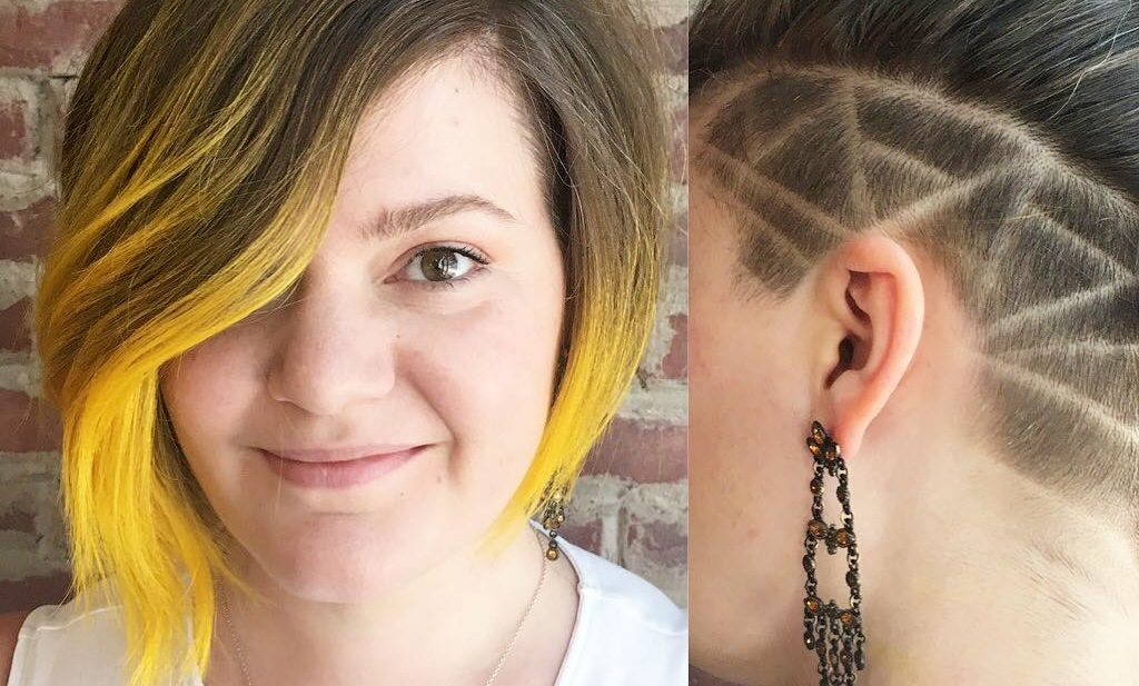 Asymmetric Undercut Bob with Shave Detail and Neon Yellow Ombre Short Hairstyle