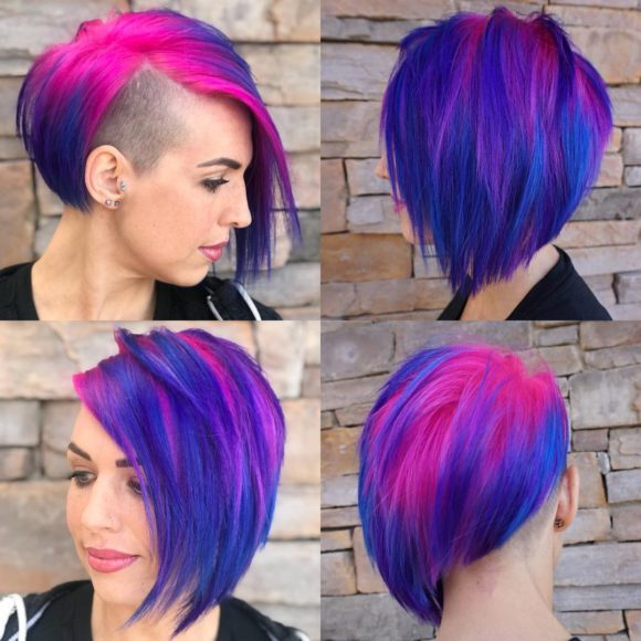 Asymmetrical Undercut with Side Swept Bangs and Vibrant Pink and Purple Color Short Hairstyle