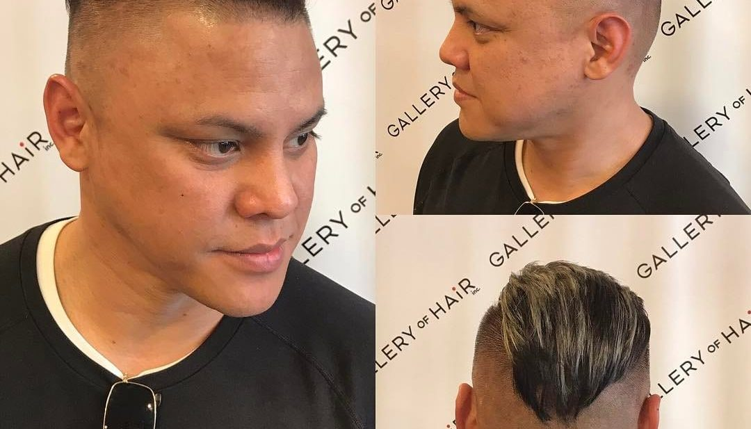 Back Combed Skin Fade Undercut on Dark Hair with Blonde Balayage