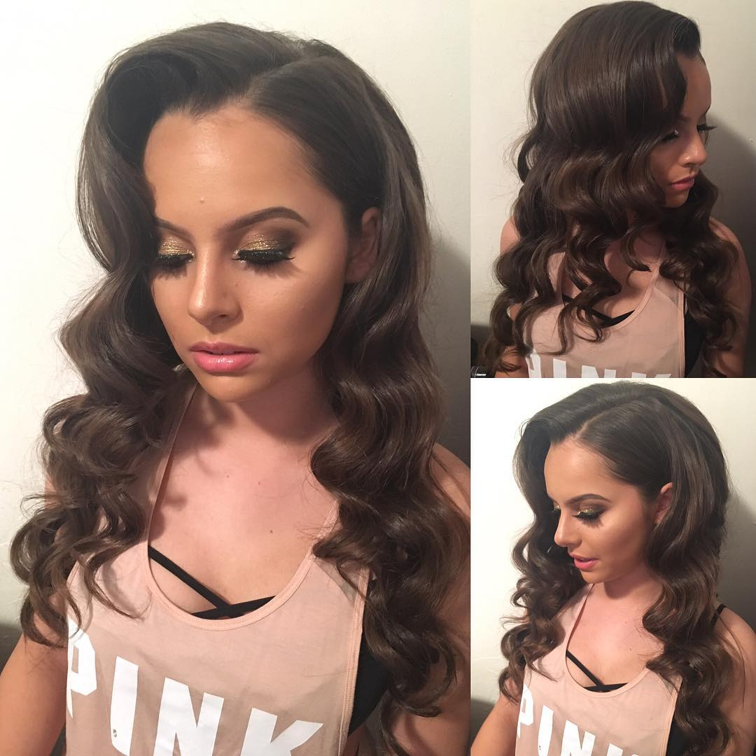 Beautiful Brunette Layered Cut with Soft Vintage Hollywood Waves Long Hairstyle
