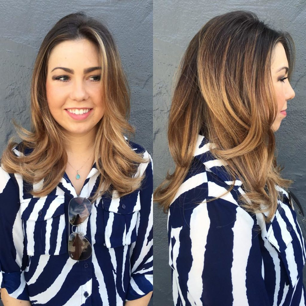 Beautiful Layered Blowout with Body and Volume and Brunette Ombre Color Long Hairstyle