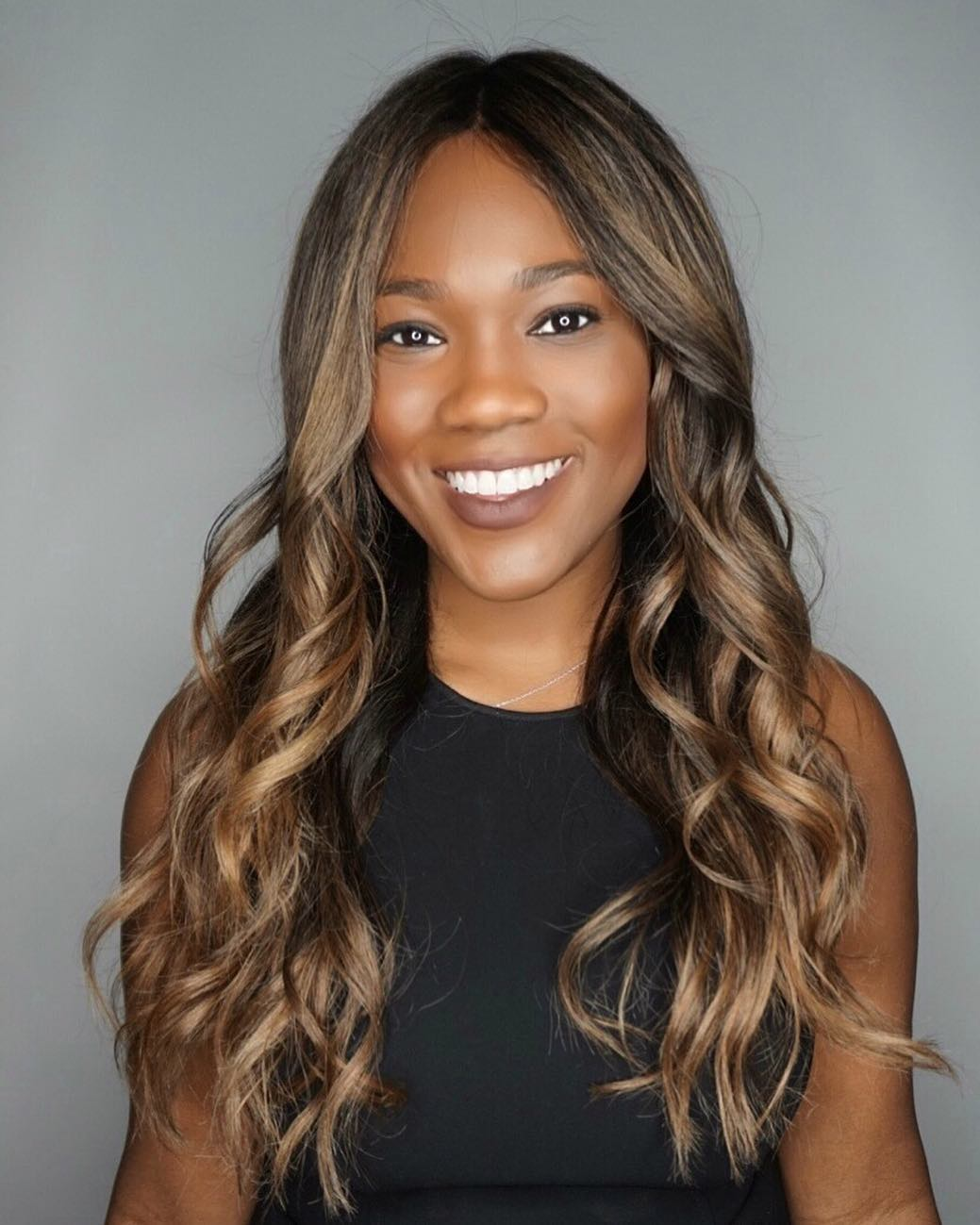Beautiful Layered Cut with Textured Waves and Chocolate Highlights Long Hairstyle