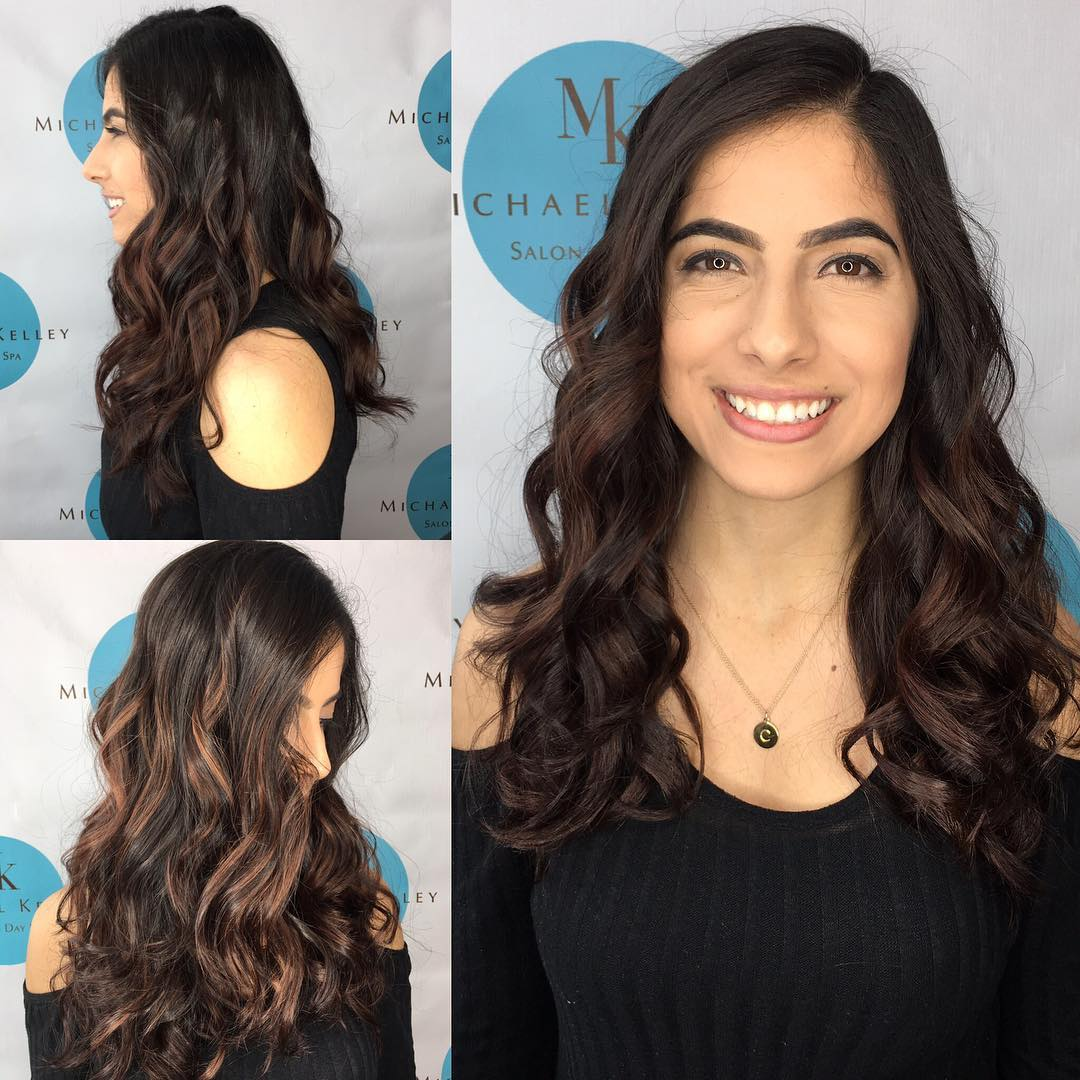 Beautiful Long Layered Cut with Curls and Dark Brunette Balayage Long Hairstyle