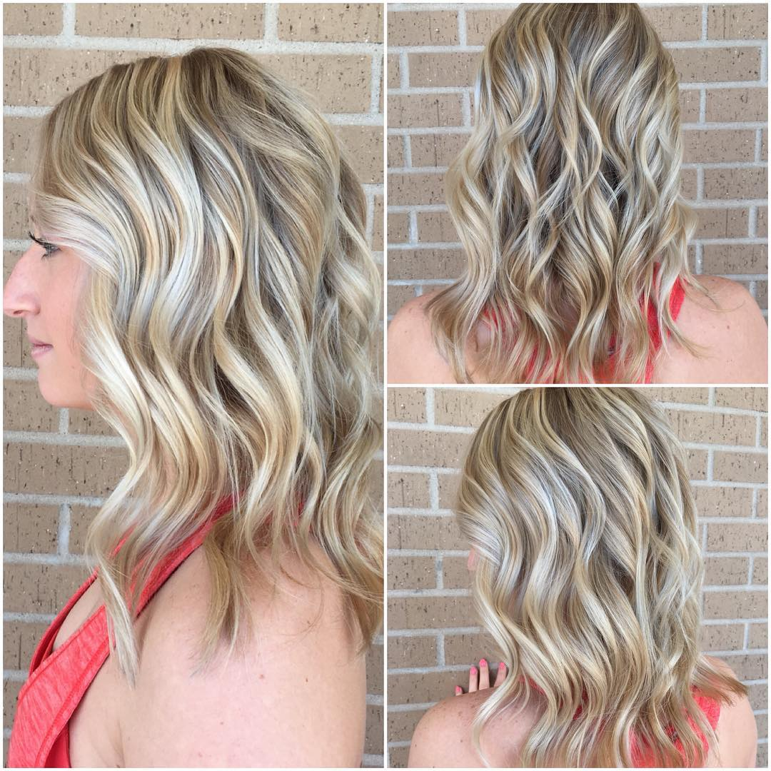 Beautiful Wavy Long Blonde Bob with Highlights Womens Mid-Length Hairstyle