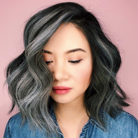 Black Layered Lob with Big Soft Waves and Smoky Grey Balayage Highlights Medium Length Hairstyle