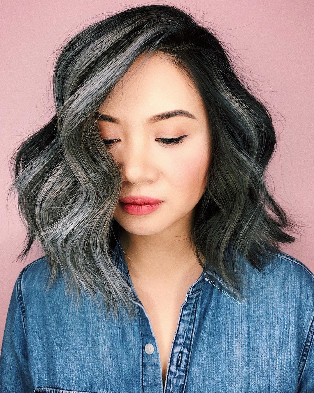 Black Layered Lob with Big Soft Waves and Smoky Grey Balayage Highlights Medium Length Hairstyle