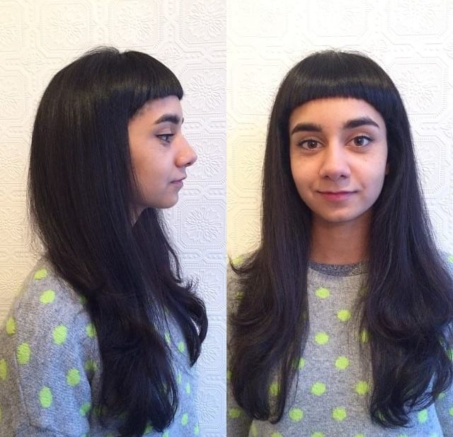 Black Long Layered Fringe Cut with Micro Bangs Long Hairstyle