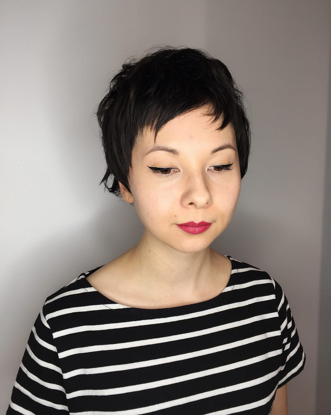 Black Shaggy Crop with Textured Fringe and Baby Bangs Short Hairstyle