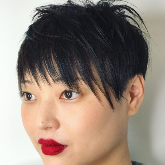 Black Shaggy Crop with Undone Textured Fringe and Bangs Short Hairstyle