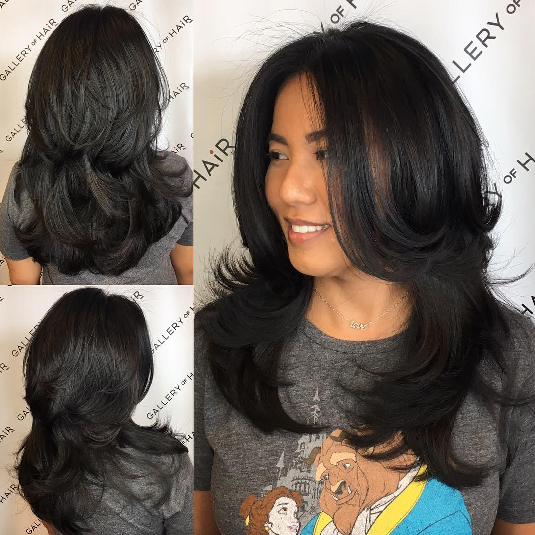 Black Shaggy Razor Cut with Long Layers and Flipped Ends Long Hairstyle