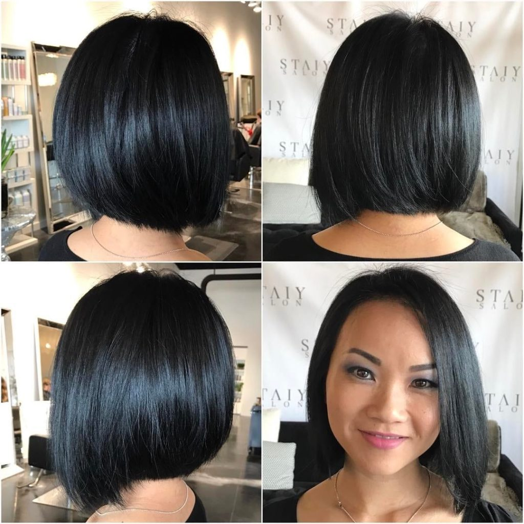 Black Sleek Bob with Slight Angle Medium Length Hairstyle