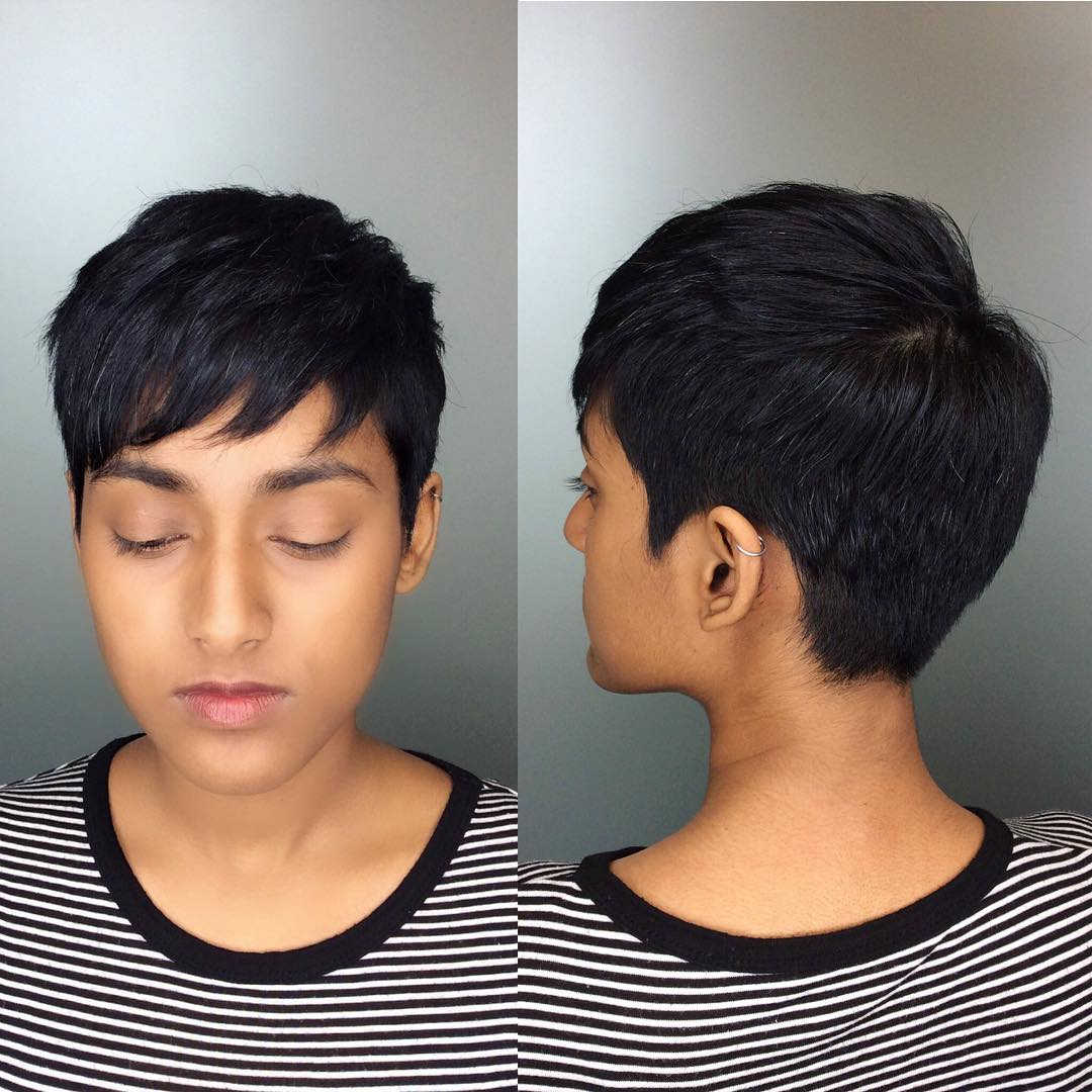 Black Textured Crop with Choppy Bangs Short Hairstyle