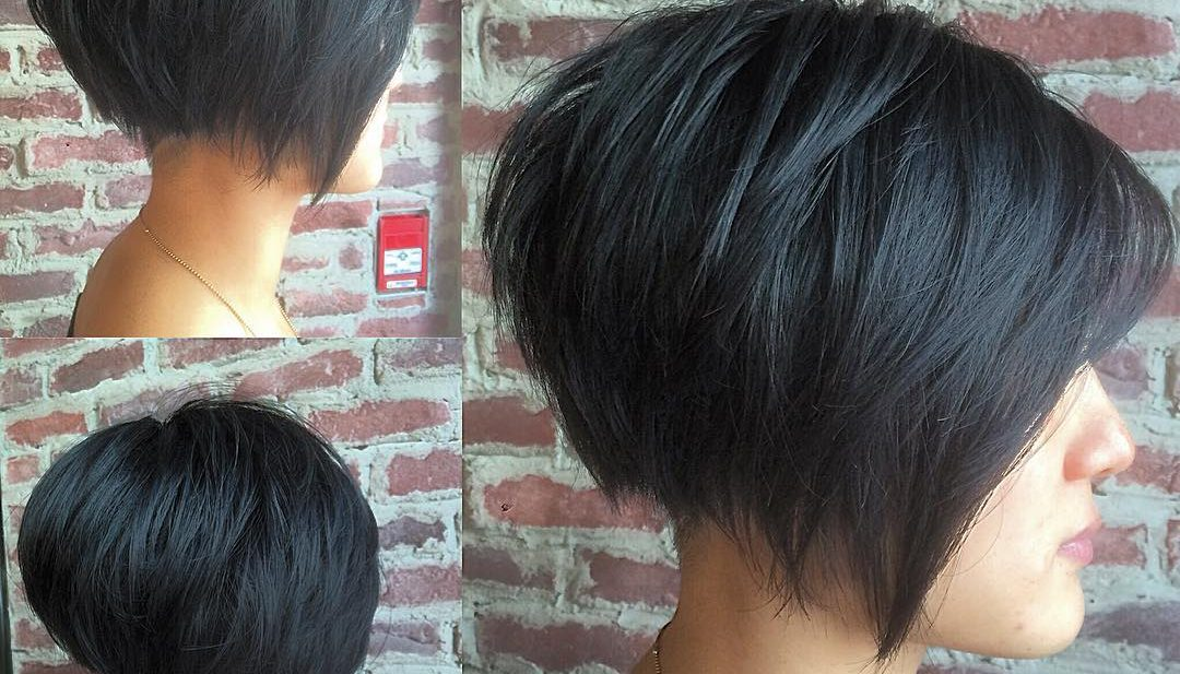 Black Undercut Bob with Choppy Graduated Layers and Shaved Nape Short Hairstyle
