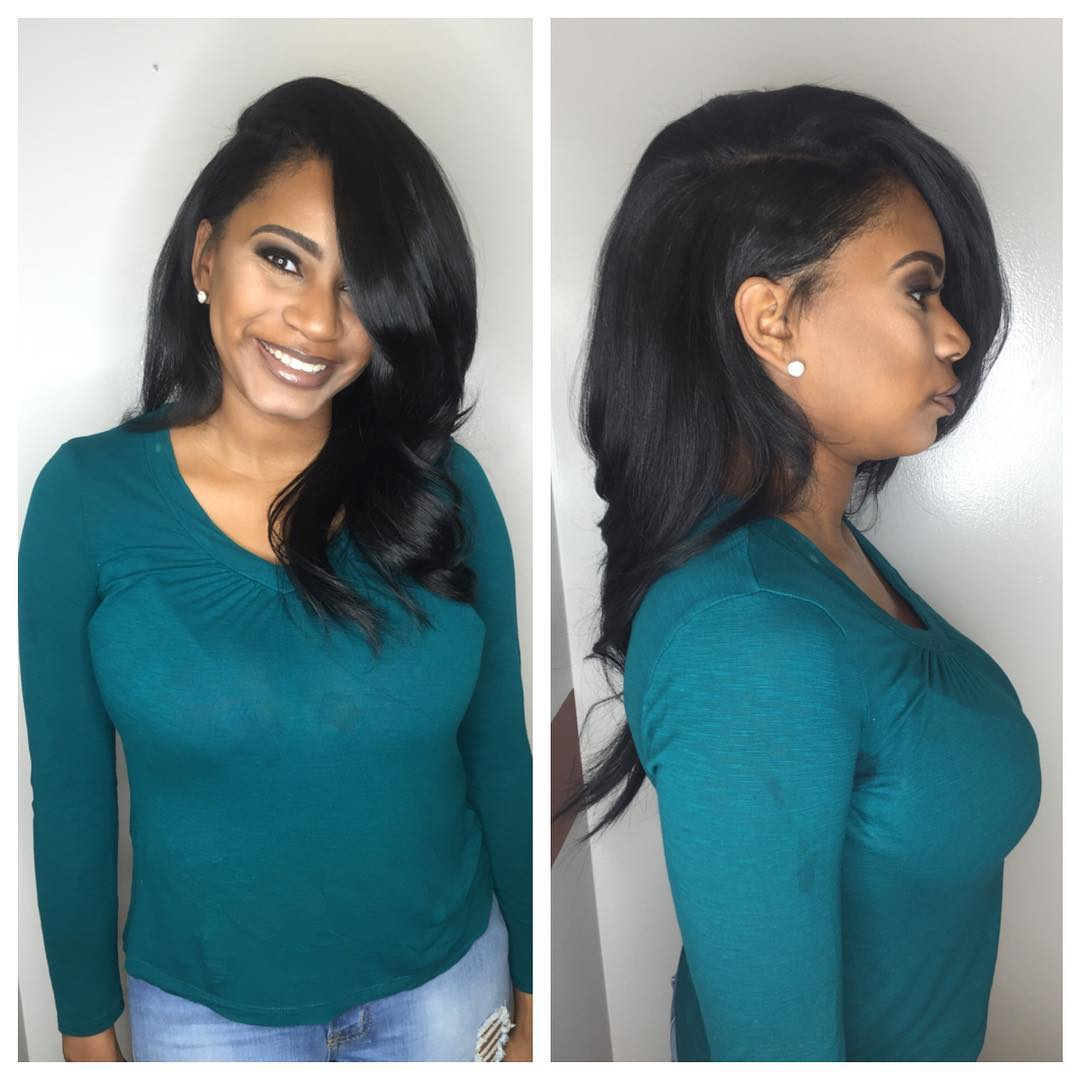Black Voluminous Layered Cut with Exaggerated Part Long Hairstyle
