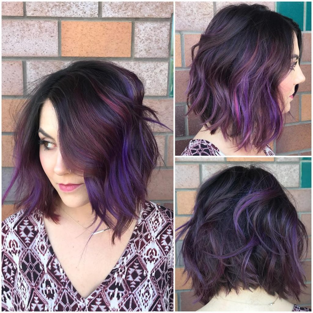Black Wavy Textured Bob with Purple and Burgundy Highlights Medium Length Hairstyle