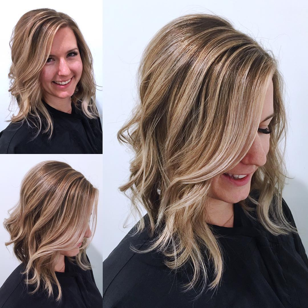Blonde Angled Lob with Undone Textured Waves and Highlights Medium Length Hairstyle