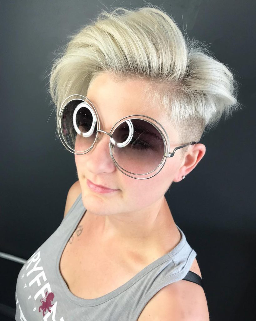 Blonde Asymmetric Undercut Pixie with Side Swept Blowout Texture and Tapered Fade Short Summer Hairstyle