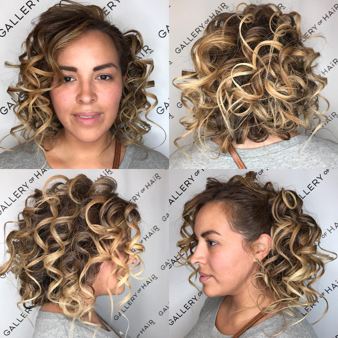Blonde Back Pinned Curly Bob with Highlights Medium Length Hairstyle