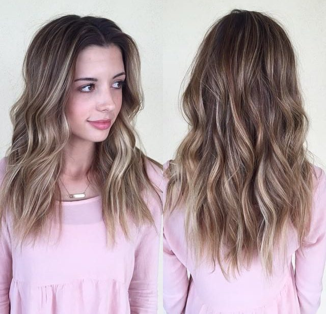 Blonde Balayage Layered Cut with Textured Waves and Center Part Long Hairstyle