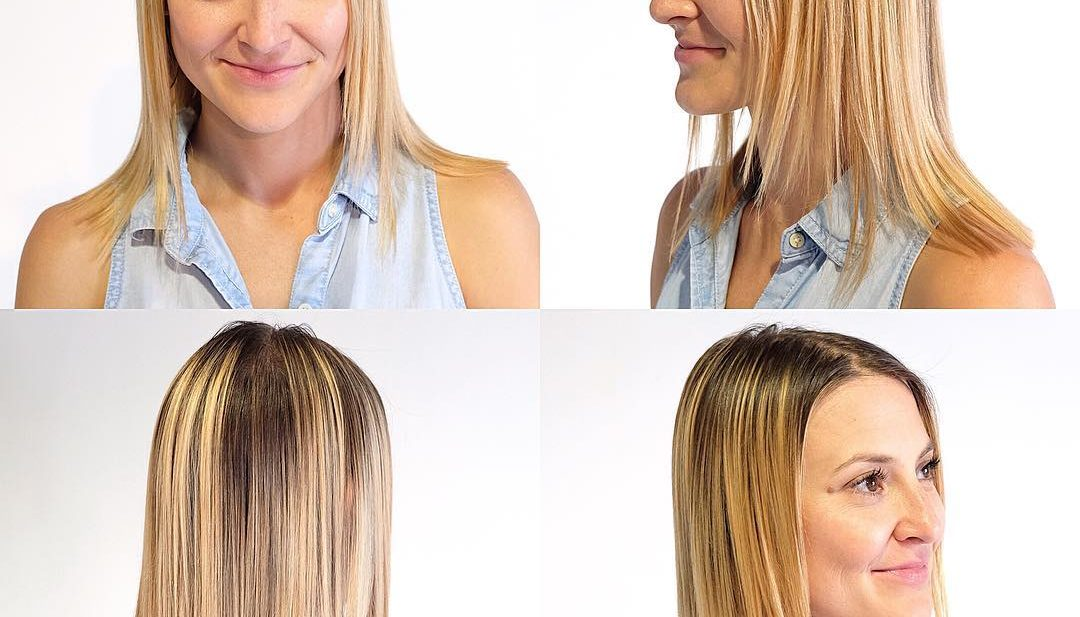 Blonde Blunt Cut with Face Framing Layers and Shadow Roots Medium Length Hairstyle