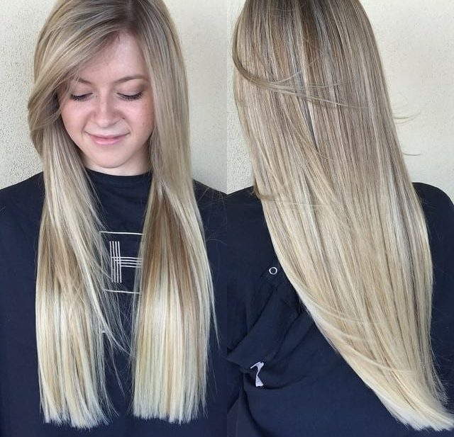 Blonde Blunt Cut with Long Side Swept Front Layers and Babylights Long Hairstyle