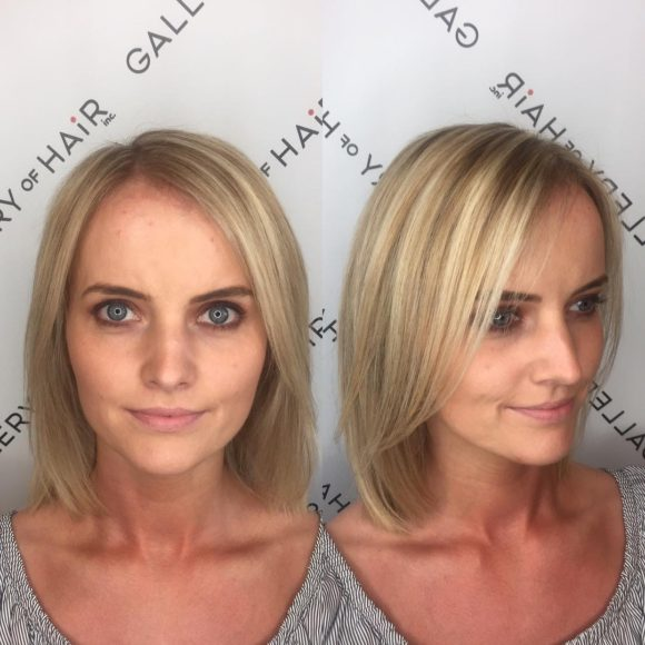 Blonde Classic Lob with Front Layers and Highlights Medium Length Hairstyle