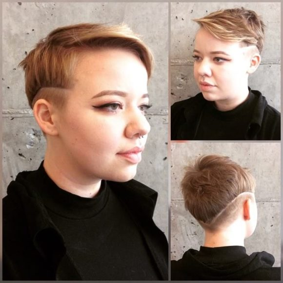 Blonde Eccentric Pixie with Highlighted Messy Textured Lengths and Shave Art Temple Fade Short Fall Hairstyle
