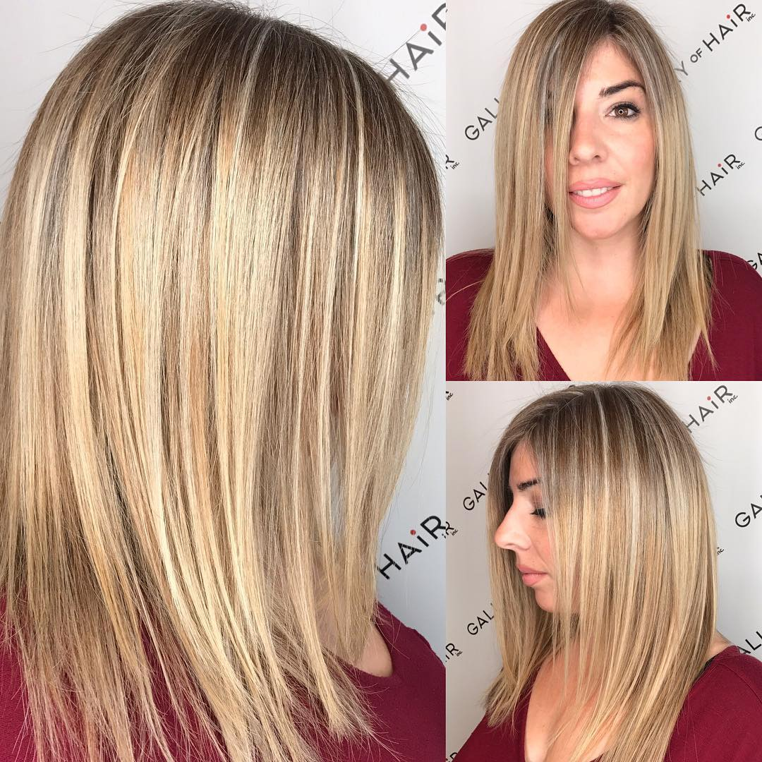 Blonde Highlighted Longhair with Front Layers and Textured Ends Long Hairstyle