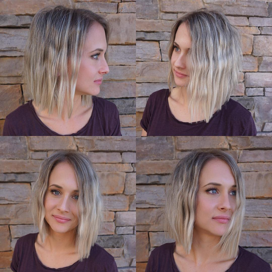 Blonde Lob with Soft Undone Waves and Blunt Lines Medium Length Hairstyle