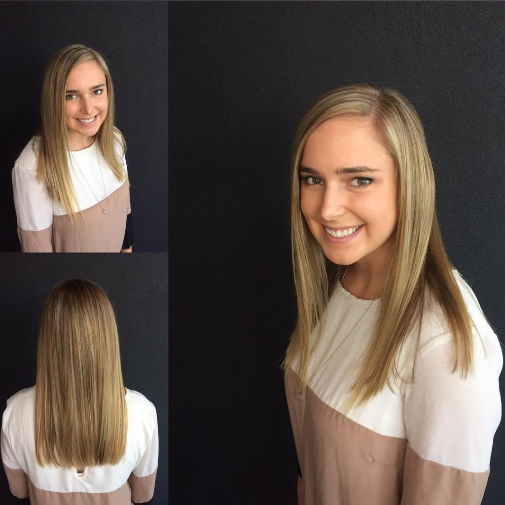 Blonde Long Blunt Cut with Textured Ends and Baby Lights Long Hairstyle
