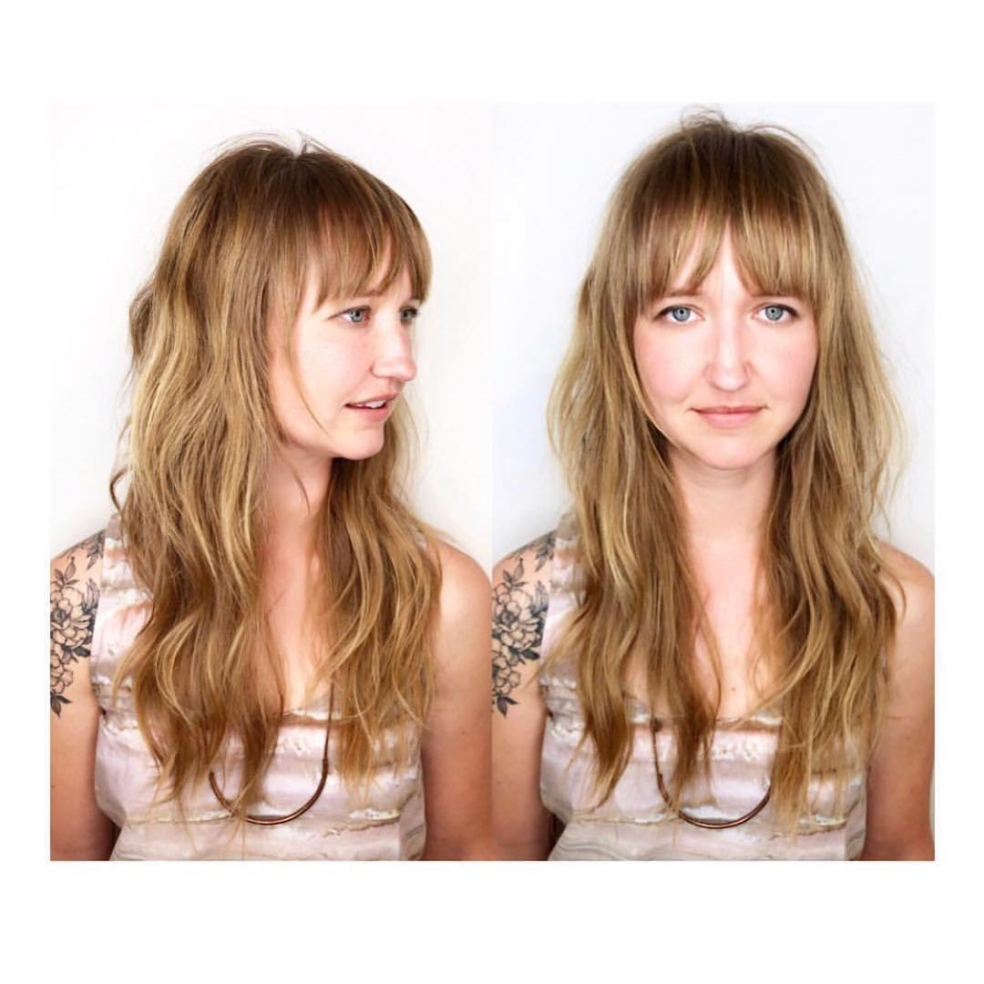 Blonde Shag Cut with Undone Soft Wavy Texture and Fringe Bangs Long Hairstyle