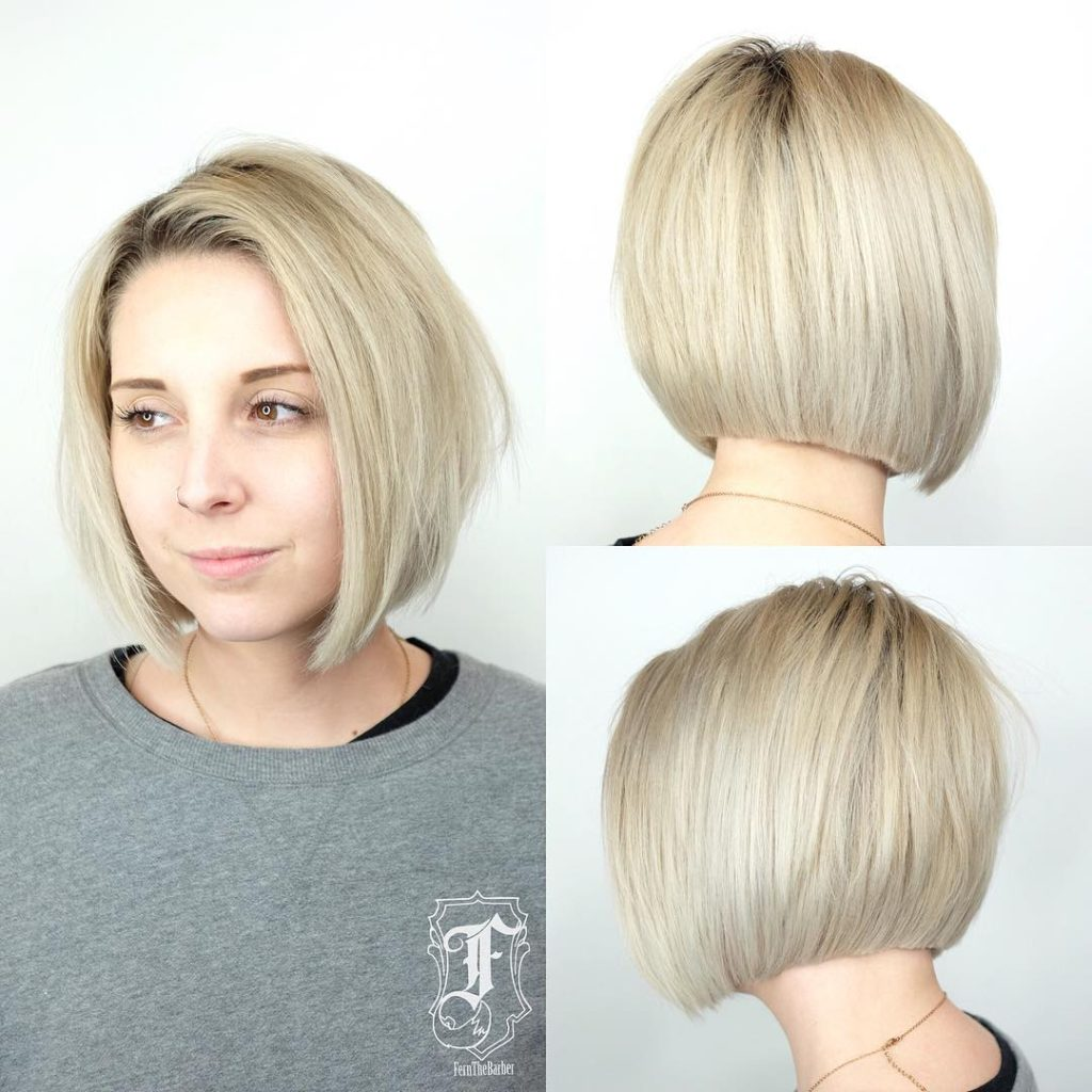 Blonde Shaped Bob with Clean Blunt Lines and Soft Layers Short Hairstyle