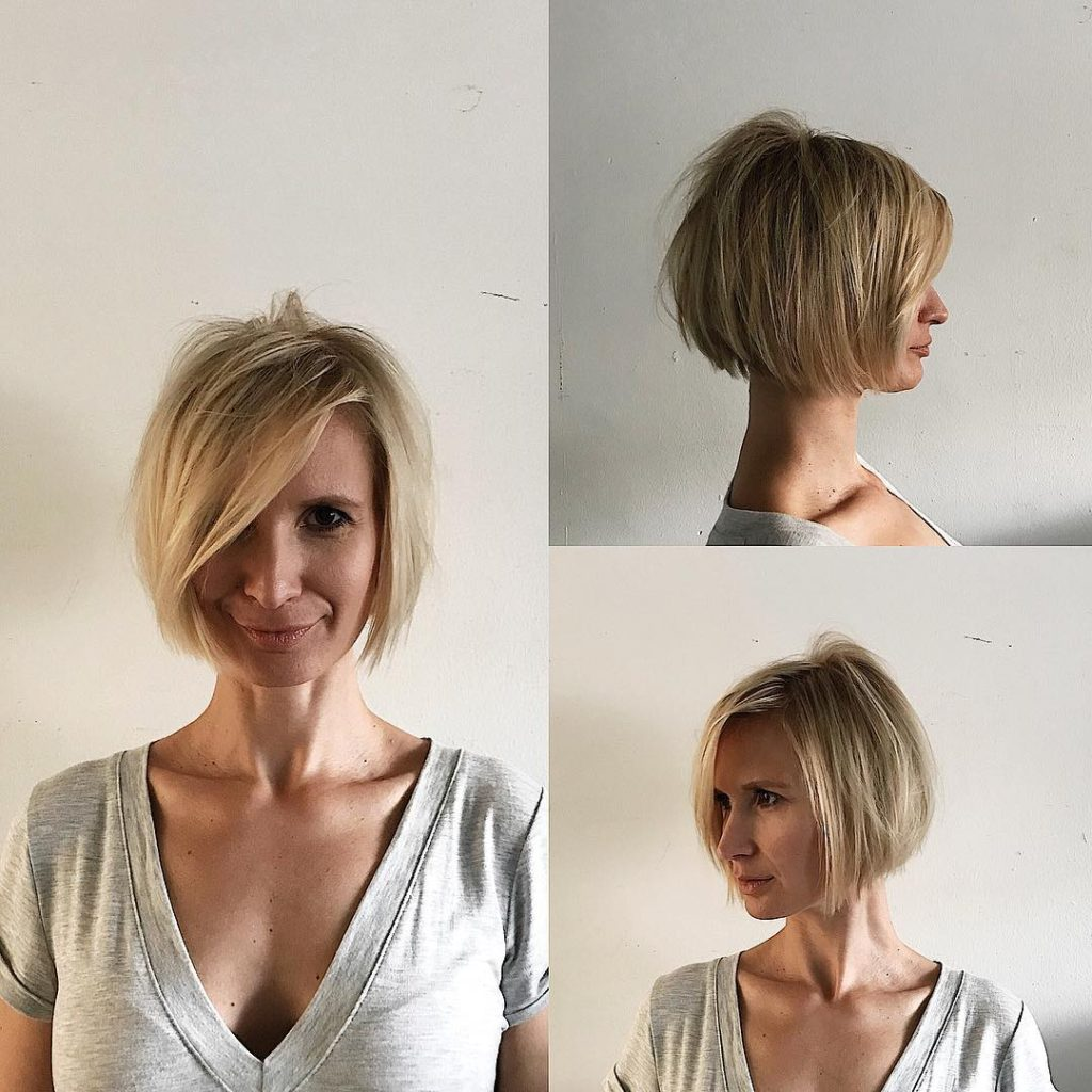 Blonde Shaped Bob with Messy Texture and Long Side Swept Bangs Short Hairstyle