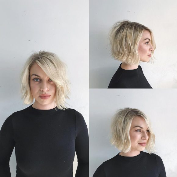 Blonde Soft Blend Bob with Side Part and Undone Wavy Texture Medium Length Hairstyle