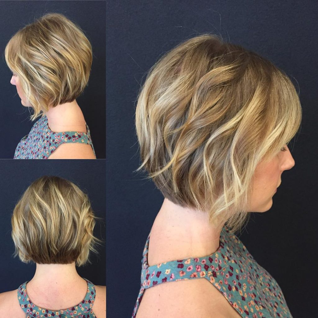 Blonde Stacked Angled Bob with Added Wavy Texture Short Hairstyle