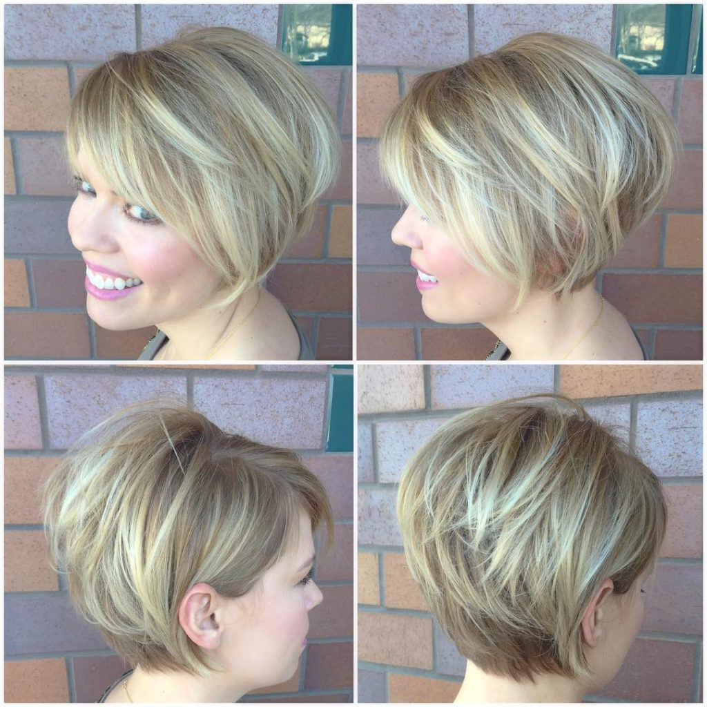 Blonde Stacked Bob with Side Swept Bangs and Highlights Short Hairstyle