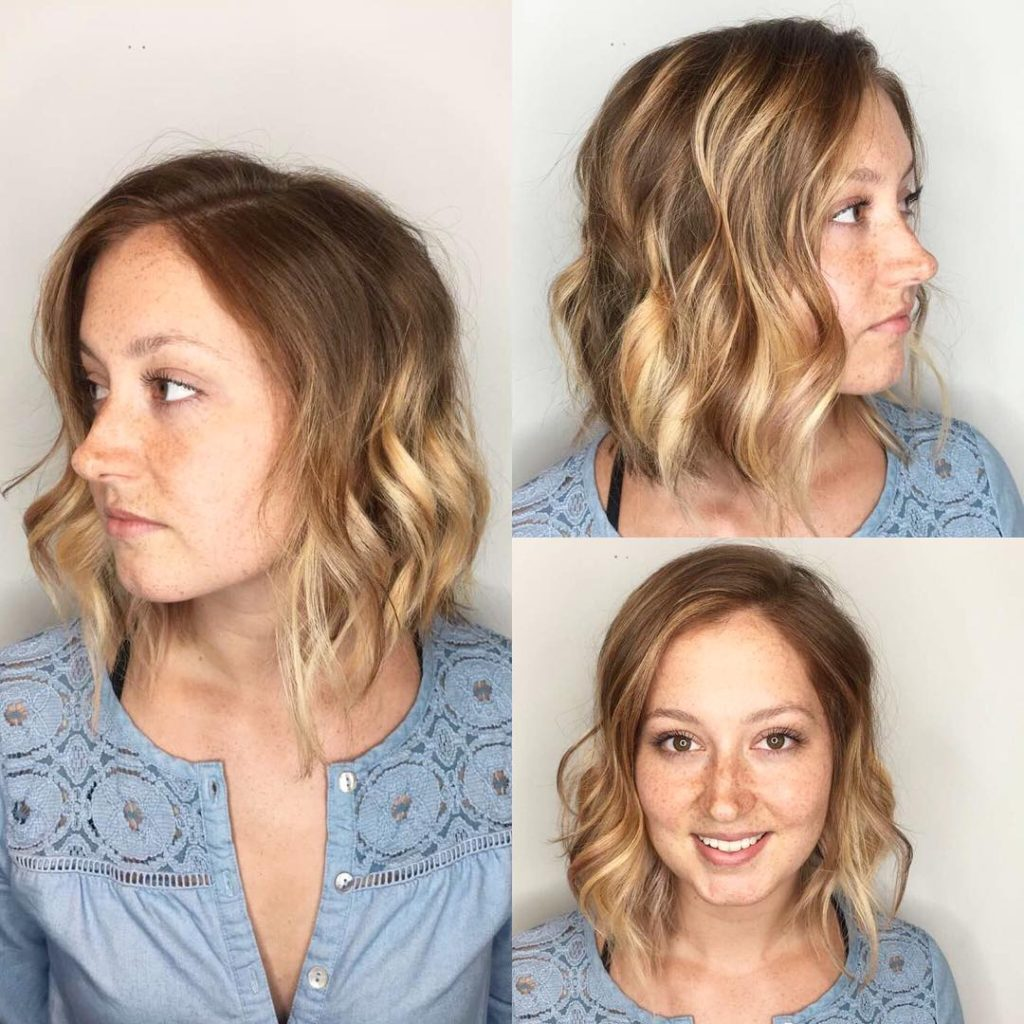 Blonde Sun Kissed Balayage Bob with Wavy Texture Medium Length Hairstyle