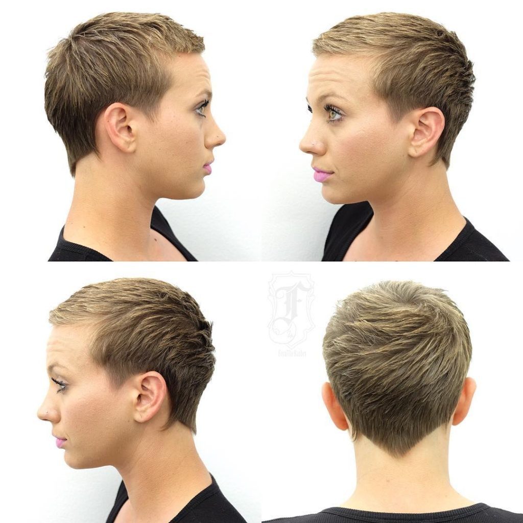 Blonde Textured Pixie Crop with Blunt Nape Lines and Fringe Short Hairstyle