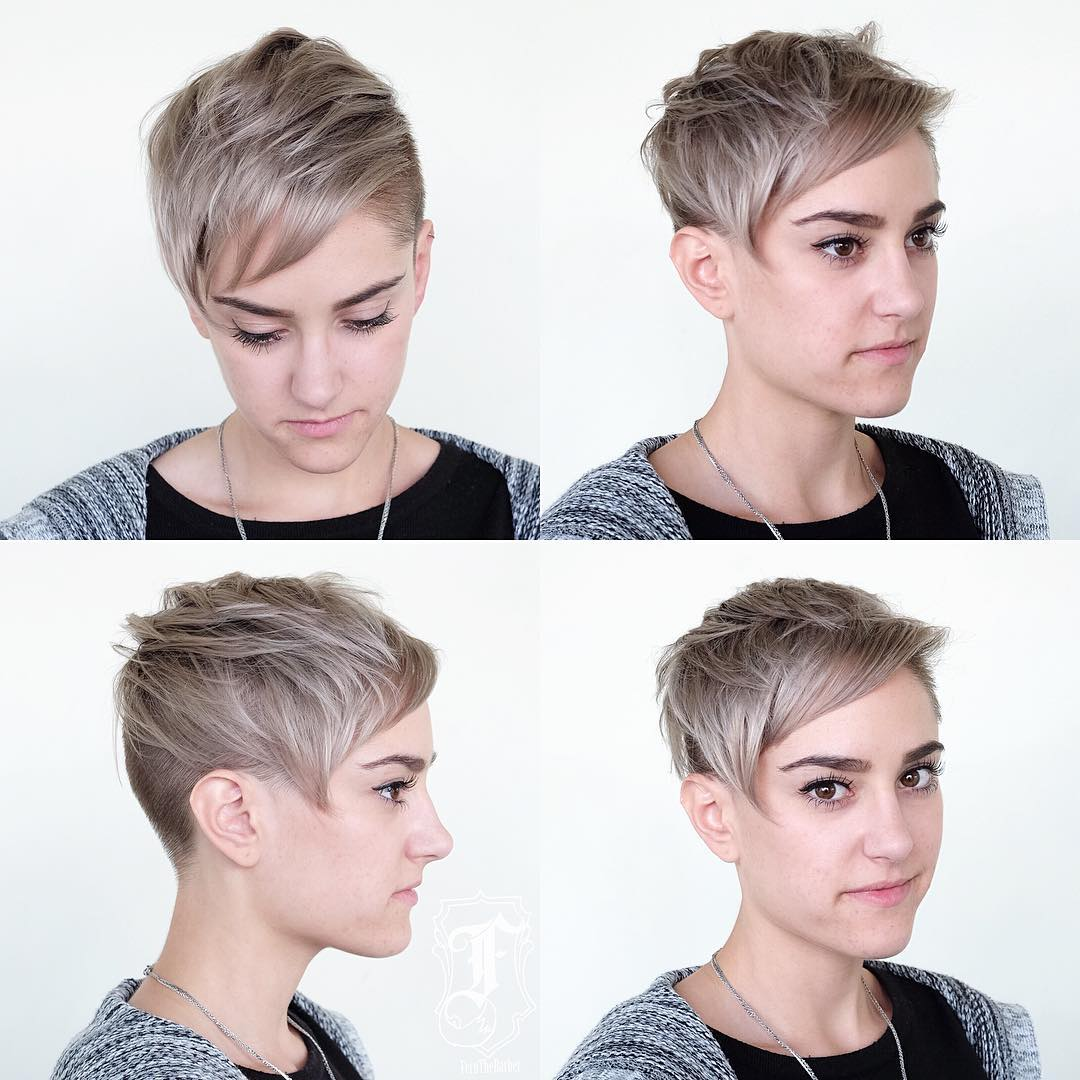 Blonde Undercut Pixie with Messy Texture and Side Swept Bangs Short Hairstyle